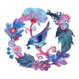 Aquarellkarte mit Blumen und Vogel Stockbild