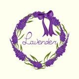 Aquarellkarte mit einem Bild eines Lavendels im Retrostil stock abbildung