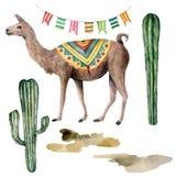 Aquarellkarte mit Lama, Flaggengirlande und Kakteen Handgemalte schöne Illustration mit Tier-, Blumen und Girlande lizenzfreie abbildung