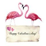 Aquarellkarte mit Paaren des Flamingos und der glücklichen Valentinsgruß ` s Tagesaufschrift Exotische handgemalte Vogelillustrat Lizenzfreies Stockfoto