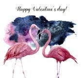 Aquarellkarte mit Paaren des rosa Flamingos und der glücklichen Valentinsgruß ` s Tagesaufschrift Exotischer handgemalter Vogel lizenzfreie abbildung