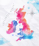 Aquarellkarte Vereinigtes Königreich und Schottland-Rosa Stockfotos
