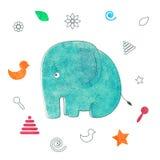 Aquarellkinderdruck Lustiger Elefant Stockfoto