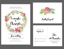Aquarellkranz Hochzeits-Einladungs-Karte lizenzfreie abbildung