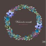 Aquarellkranz mit Blumen, Laub und Niederlassung Stockfoto