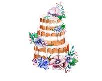 Aquarellkuchen mit Blumen Lizenzfreies Stockfoto