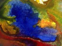 Aquarellkunstzusammenfassungs-Hintergrundfrische schöne Blumeniris blüht moderne strukturierte unscharfe Fantasie der nassen Wäsc Lizenzfreie Stockbilder