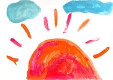 Aquarelllack durch ein Kind Lizenzfreies Stockbild