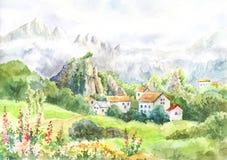 Aquarelllandschaft mit Bergen, Wiese, Dorf Kühler Tag herein lizenzfreie abbildung