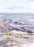 Aquarelllandschaft mit felsigem Ufer von Meer oder von See Vektor Abbildung