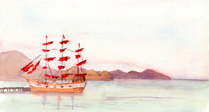 Aquarelllandschaft mit rotem Segelboot Lizenzfreies Stockfoto