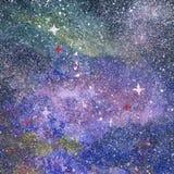 Aquarelllandschaft nachts mit buntem skyaurora Polarstern lizenzfreie abbildung