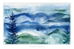 Aquarelllandschaft von Bergen und von Tannenbäumen Stockfoto