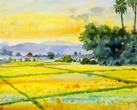 Aquarelllandschaftsmalerei bunt vom Dorf- und Reisfeld lizenzfreie abbildung