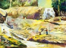 Aquarelllandschaftsmalerei bunt vom Wasserfall