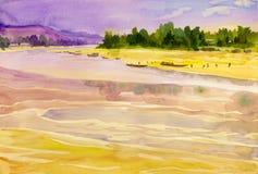 Aquarelllandschaftsursprüngliche Malerei bunt vom Mekong lizenzfreies stockfoto