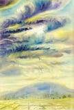 Aquarelllandschaftsursprüngliche Malerei bunt von der Regenwolke stockfotografie