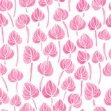 Aquarelllilienblumen-Blattmuster Lizenzfreie Stockfotografie