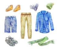 Aquarellmänner ` s Kleidungssammlung auf weißem Hintergrund Stockfoto