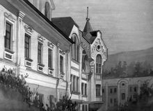 Aquarellmalerei - alte Stadt Stockbild