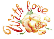 Aquarellmalerei der rosafarbenen Knospe und des Textes: Mit Liebe Stockbild