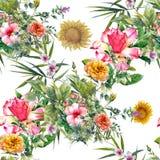 Aquarellmalerei des Blattes und der Blumen Lizenzfreies Stockbild