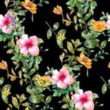 Aquarellmalerei des Blattes und der Blumen Vektor Abbildung