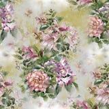 Aquarellmalerei des Blattes und der Blumen, nahtloses Muster Lizenzfreies Stockbild