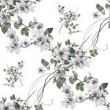 Aquarellmalerei des Blattes und der Blumen, nahtloses Muster Stockfotos