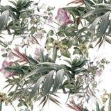 Aquarellmalerei des Blattes und der Blumen, nahtloses Muster auf weißem Hintergrund Vektor Abbildung
