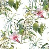 Aquarellmalerei des Blattes und der Blumen, nahtloses Muster auf weißem Hintergrund Stockfotografie