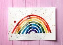 Aquarellmalerei des Regenbogens auf Hintergrund Lizenzfreie Stockfotos