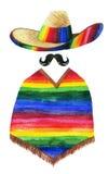 Aquarellmalerei des tragenden Sombreros des Mannes Lizenzfreie Stockfotos