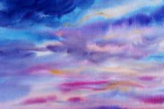 Aquarellmalerei-Himmelblau-Rosafarbe der Wolke in einer Luft lizenzfreies stockbild