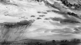 Aquarellmalerei-Landschaftsgraue Farbe der Regenwolke stockbild