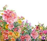 Aquarellmalerei von Blättern und von Blume Lizenzfreie Stockbilder