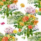 Aquarellmalerei von Blättern und von Blume Stockfoto