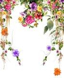 Aquarellmalerei von Blättern und von Blume, auf Weiß Lizenzfreie Stockbilder