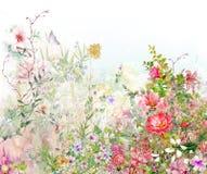 Aquarellmalerei von Blättern und von Blume, auf Weiß vektor abbildung
