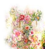 Aquarellmalerei von Blättern und von Blume, auf weißem Hintergrund Stockfoto