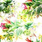 Aquarellmalerei von Blättern und von Blume Lizenzfreie Stockfotos