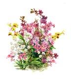 Aquarellmalerei von Blättern und von Blume Stock Abbildung