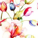 Aquarellmalerei von Tulpen- und Lilienblumen Lizenzfreies Stockfoto