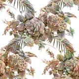 Aquarellmalereiblatt und Blumen, nahtloses Muster auf weißem backgroun Stockfotos