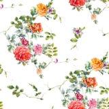 Aquarellmalereiblatt und Blumen, nahtloses Muster auf weißem backgroun Stockbilder