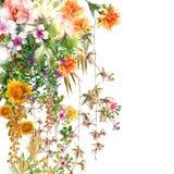 Aquarellmalereiblume, auf weißem Hintergrund Lizenzfreie Stockbilder