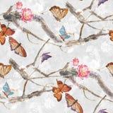 Aquarellmalereischmetterling und Blumen, nahtloses Muster auf weißem Hintergrund Stockfotos