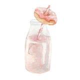 Aquarellminidonut mit der Erdbeermilchshakehand gezeichnet Stockbild