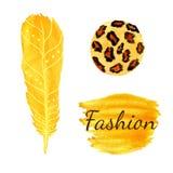 Aquarellmode eingestellt in gelbe Farbe Leopardkreisbeschaffenheit, Feder Ethnischer Vektor lizenzfreie abbildung
