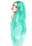 Aquarellmode-Frauenporträt Hand gezeichnetes Schönheitsmädchen mit dem langen Haar lizenzfreie stockfotos
